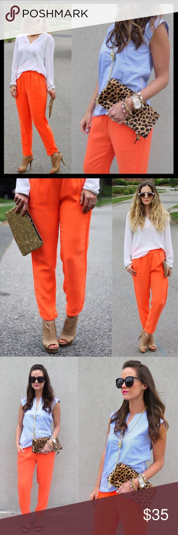 "j. crew // orange reese joggers pants neon ankle Pull-on pants for cocktails? We say yes. This relaxed pair is made from a matte crepe fabric for an easy, elegant drape and dressed up with shirttail hems, so now the difference between hanging out and going out is really just a question of footwear. Polyester. Elastic waist. Slant pockets. Machine wash. Sits lower on hip. Relaxed through hip and thigh, with a tapered leg. 26"" inseam. Waistband is 14"" across lying flat unstretched. Great…"