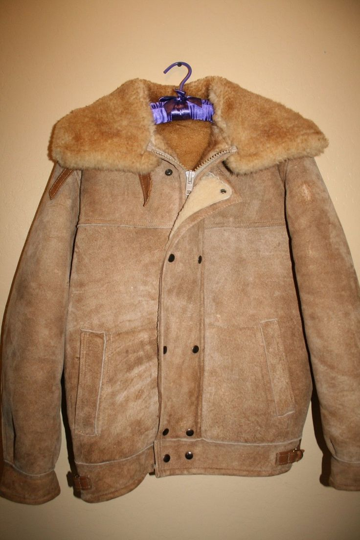 Vtg Overland Sheepskin Co Shearling Leather Suede Coat Jacket Marlboro Man Size | eBay