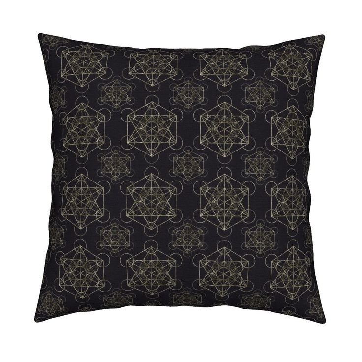 Metatrons Cube Black Gold Square Pillow by maverickcreatrix   Roostery Home Decor