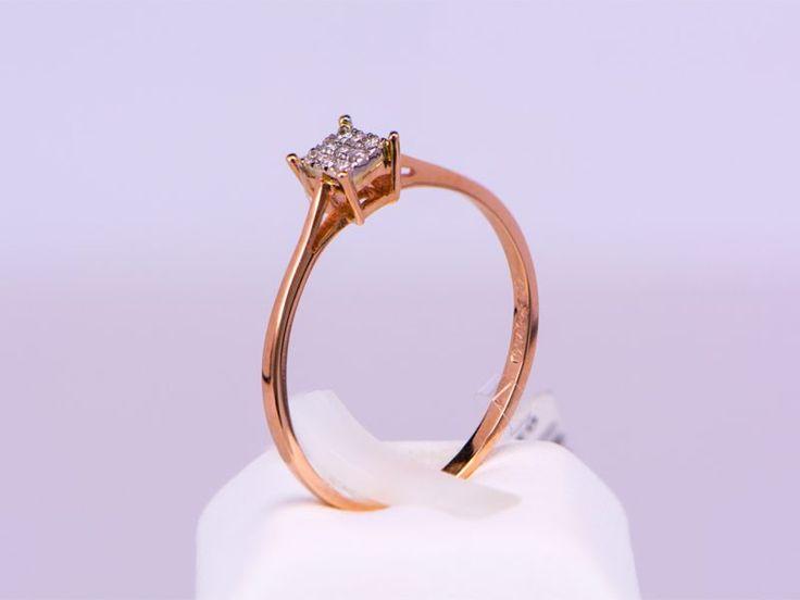 Δαχτυλίδι  ροζ  χρυσό  Κ18,  μονόπετρο, τετράγωνο  με  διαμάντια.