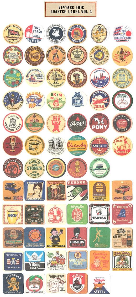 coasters custom paper logo stickers
