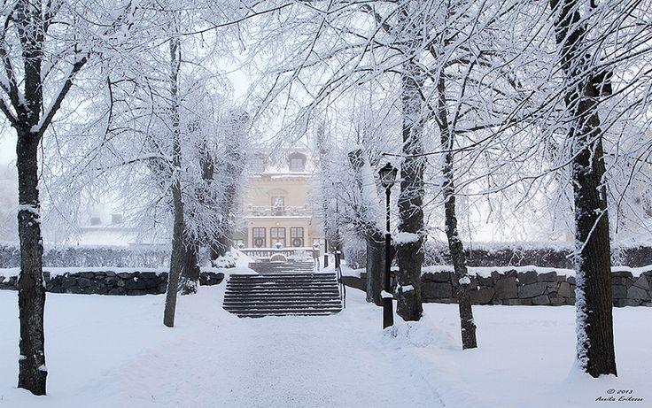 Görväln Slott Boutiquehotell i vinterskrud.
