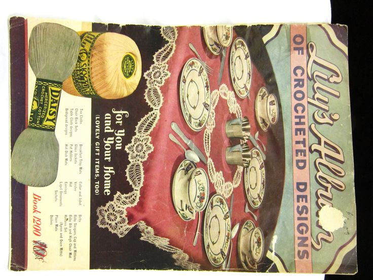 Old Vintage Crochet Patterns 1940s Lilys Album of Crocheted Designs Dressy Crochet Collars, Belt, Sachet, Trims, Doilies, Doily, Table Cover by RuthsGreenTreasures on Etsy