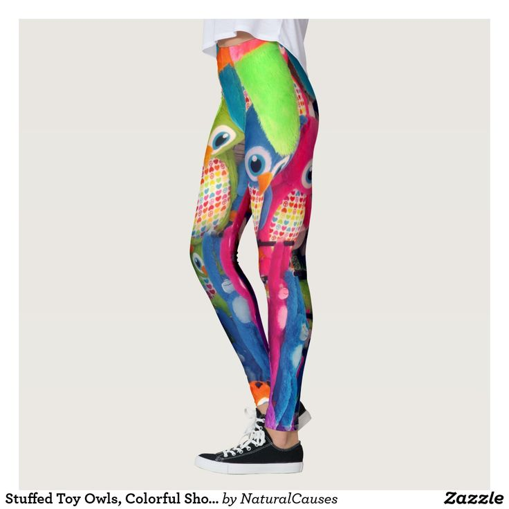 Stuffed Toy Owls, Colorful Show Time Leggings