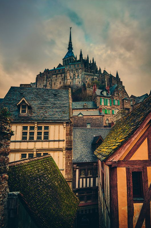The Towering Old Village, Mont-St-Michel, France