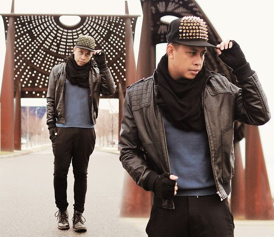Spiked Cap, Topman Leather Jacket, Topman Sweater, H Ribbed Knee Pants, Topman Boots