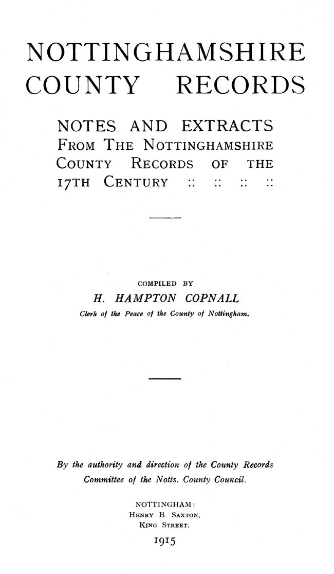 Title page of 'Nottinghamshire County Records'