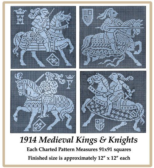1914 Medieval Kings & Knights - Filet Lace Chart Pack