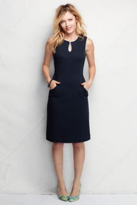 Women's Ponté Keyhole Sheath Dress - Jacquard from Lands' End. Perfect to wear to the office in the summer.  #LandsEndLove