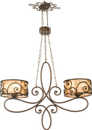 Kalco Windsor 10-Light Island Pendant in Antique Copper finish with Stained Mica shade