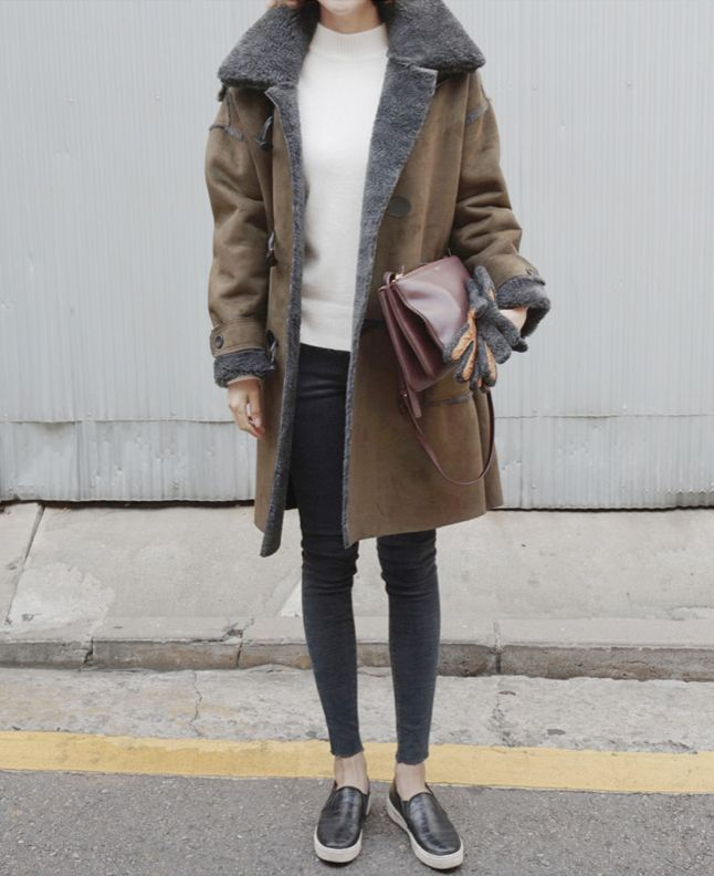 Death by Elocution: shearling coat, slip on sneakers