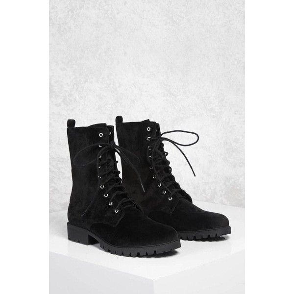 Forever21 Faux Suede Combat Boots ($35) ❤ liked on Polyvore featuring shoes, boots, ankle boots, black, military boots, black platform boots, black lace up boots, lace up combat boots and black combat boots