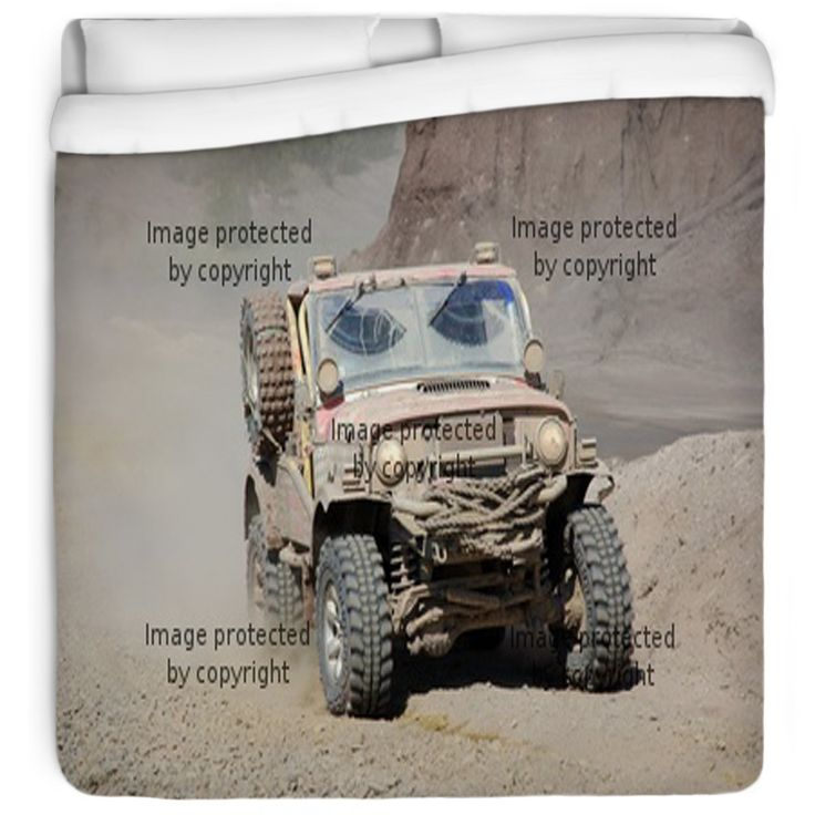 Get your dirty decor on with our Jeep Mudding comforter design only at http://www.visionbedding.com/jeep-im-offroad-rennen-queen-full-comforter-p-456067.html