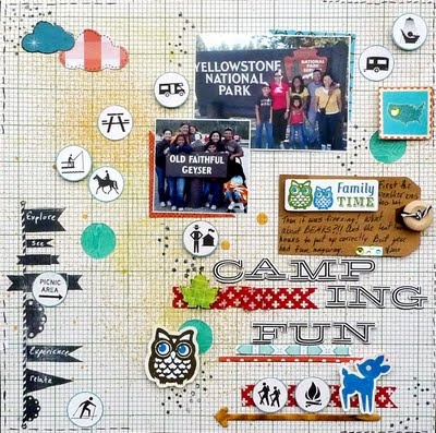 Camping Scrapbook Layout - I could convert this...fun.