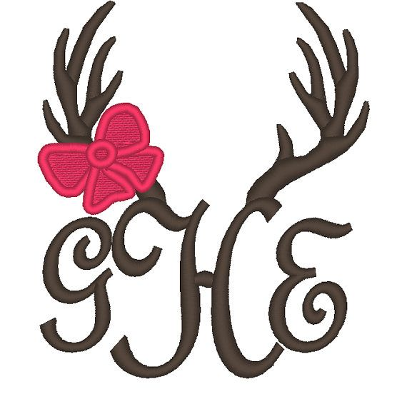 Antlers With Bow For Fonts Applique Embroidery By