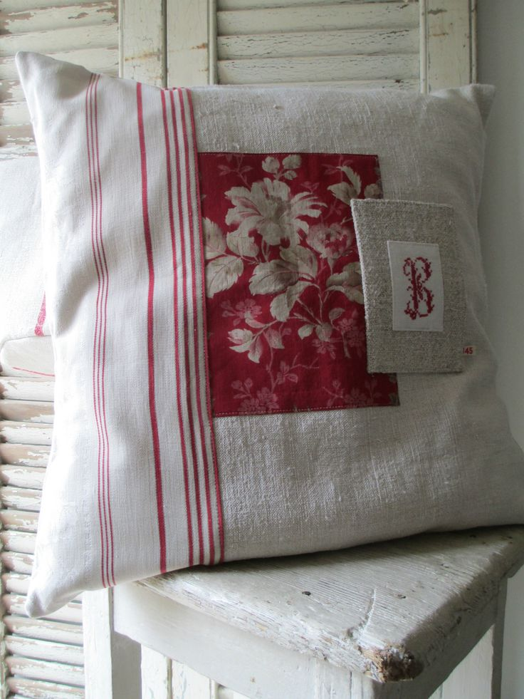 Patchwork Pillow Cover with Embroidered Monogram #sewing