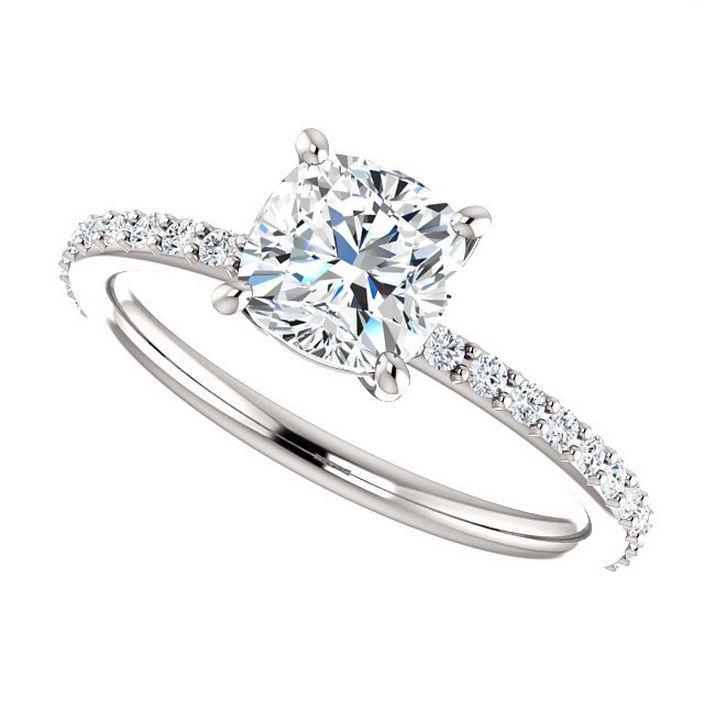 eliza ring 1 carat cushion cut moissanite engagement ring