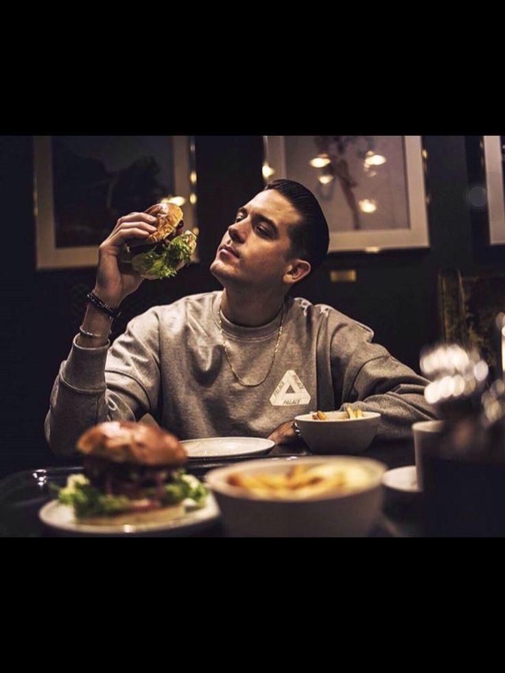 I wish someone would look at me like Gerald (G-Eazy) looks at this burger!