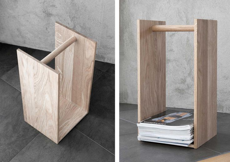 H2 / Magazine rack By PONTUS NY. Oak wood, white pigmented. Made in Sweden. 2012.