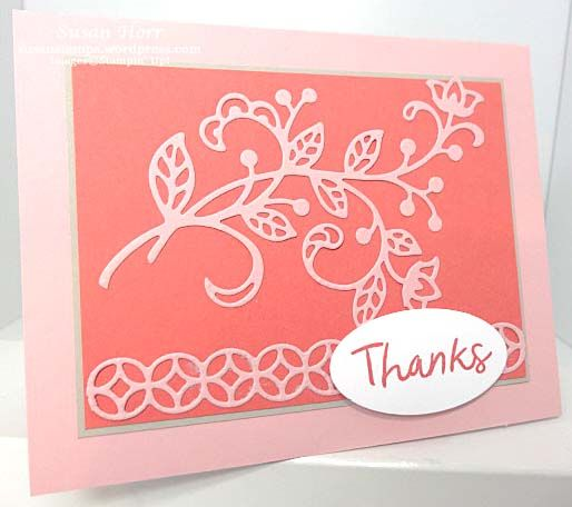 This was a quick and easy card to make and, as you can see, has very little stamping. It uses a new set of Thinlits called Flourish Thinlits. This set of Framelits goes with the stamp set called F…