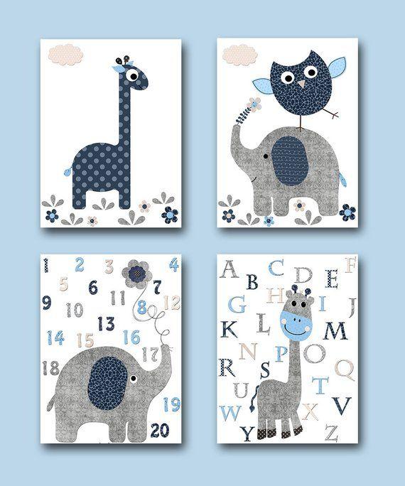Ensemble De Bleu Marine Gris Elephant Decor Girafe Decor Alphabet Pepiniere Toile Art Mural Art Girafe Elephant Bebe Garcon Wall Art Bebe Chambre Decor De 4 Baby Boys Wall Art Giraffe