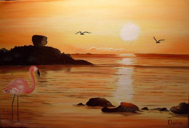 flamand rose au coucher de soleil les peintures de. Black Bedroom Furniture Sets. Home Design Ideas