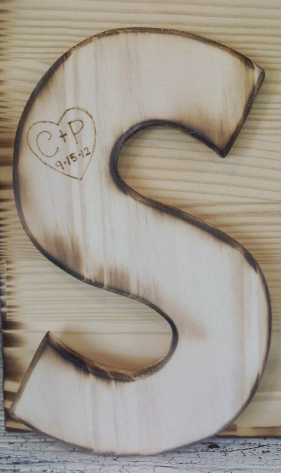 Customized Wood Initial, Small Guest Book or Baby Nursery Personalized Letter -Woodburned w heart & bride and groom intials and wedding date