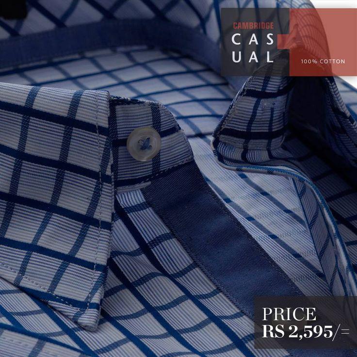 Semi-formal pure cotton shirts. Available in stripes and checks - Blue/White  Shop Now : http://goo.gl/yrz2ls  #Cambridge #Menswear #Fashion