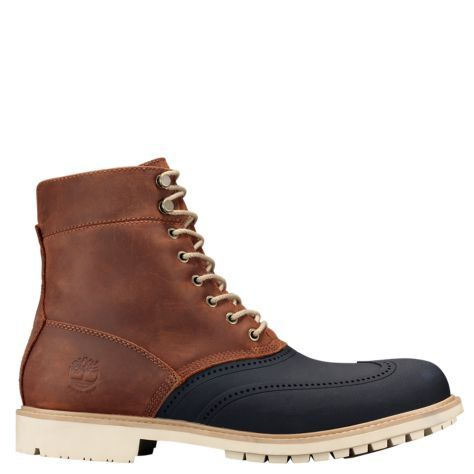 Timberland men's waterproof boots have a new look this season. The Stormbuck Duck Boots feature seam-sealed construction and premium waterproof leather.