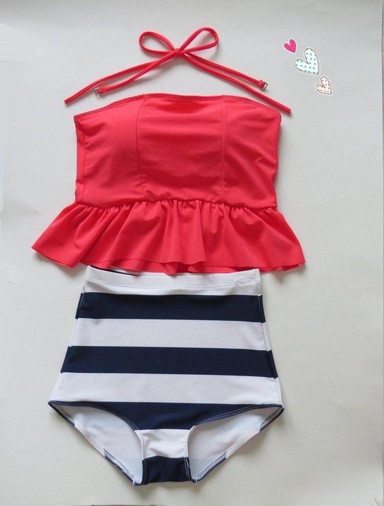 pinkish orangish navy stripe HIGH WAISTED Bikini Set RETRO Swimsuits Suits Swimwear Vintage Bandeau  M L XL bathing suit women-in Bikinis Set from Apparel & Accessories on Aliexpress.com