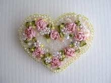 ribbon embroidery heart pin