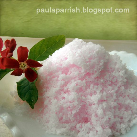 A departure from the other bath salt recipes: Kosher salt, liquid soap, almond oil, and essential oil.
