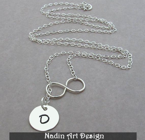 Unendlichkeit Halskette / Monogram Anhänger von NadinArtDesign auf DaWanda.com