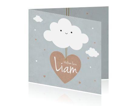 Trendy geboortekaartje voor jongen met vriendelijk wolkje