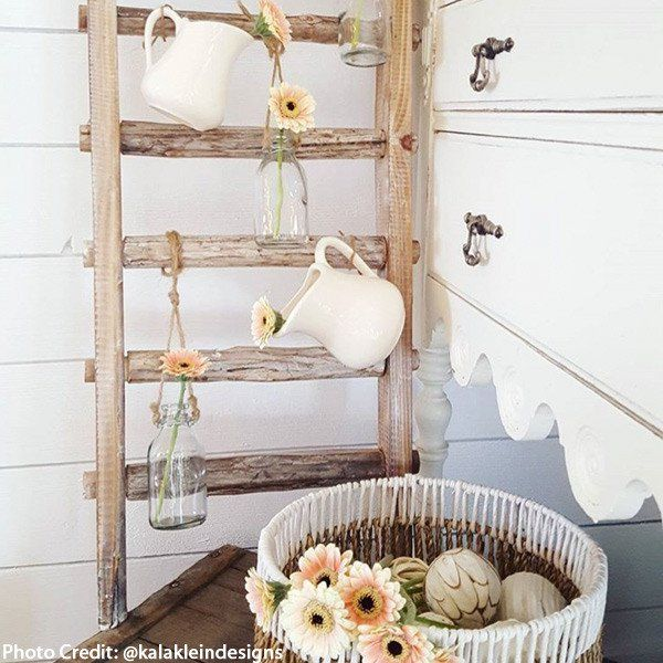 Our Decorative Ladder is vintage inspired and makes an unexpected Ladder Pot Rack that will look fantastic in your kitchen! Even use this as a Ladder Towel Rack in your bathroom for a stunning country chic look! For more visit Decor Steals