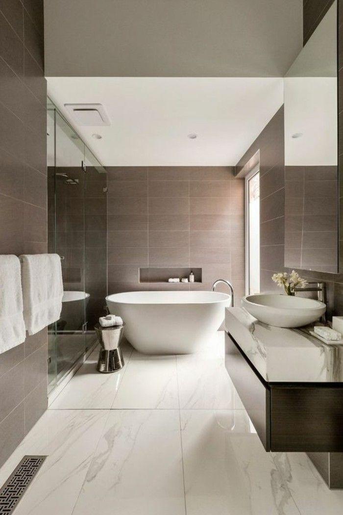 couleur salle de bain taupe , faience salle de bain taupe, baignoire ovale blanche salle de bain design pas cher