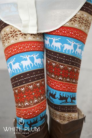 Colorblast Winter Leggings haha. I like these! They borderline the newest NM/retro trending prints that I dont like but the pop of light blue and the reindeer make them so cute. :)