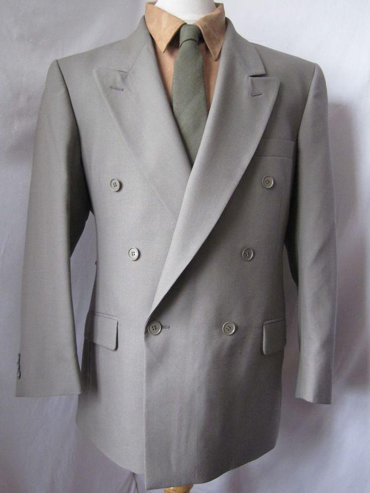 Jacket 42 R YSL Wool Blazer Mens Coat Sage Green Gray Double Breasted - eBay Seller Username janna!