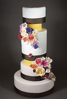 Tall Wedding Cake with Yellow Tiers | Wedding Cake