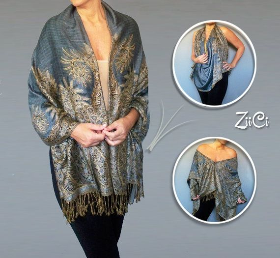 Light Blue Shawl | Gold And Blue Scarf | Cowgirl Outfits | Plus Size Western Wear | Ponchos For Women |Blue Cape Jacket |Womens Outerwear