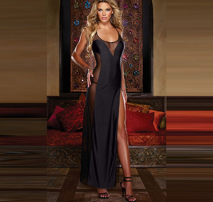 US Adult Woman Sheer Long Gown Nighty Sleepwear Lingerie Robes Backless Patchwork Nightygown