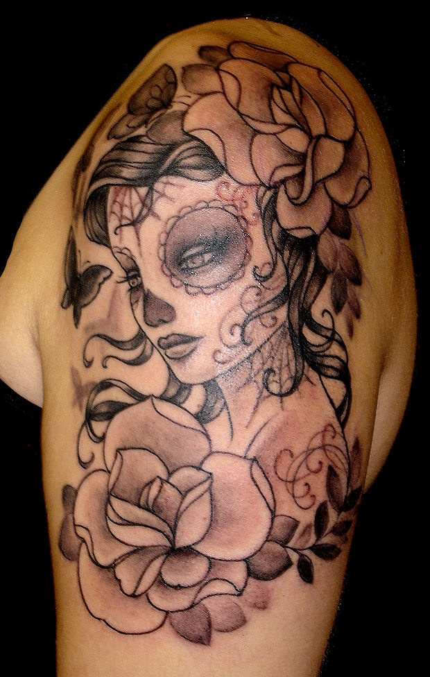 Gorgeous sugar skull shoulder piece. | Tattoo | Pinterest ...