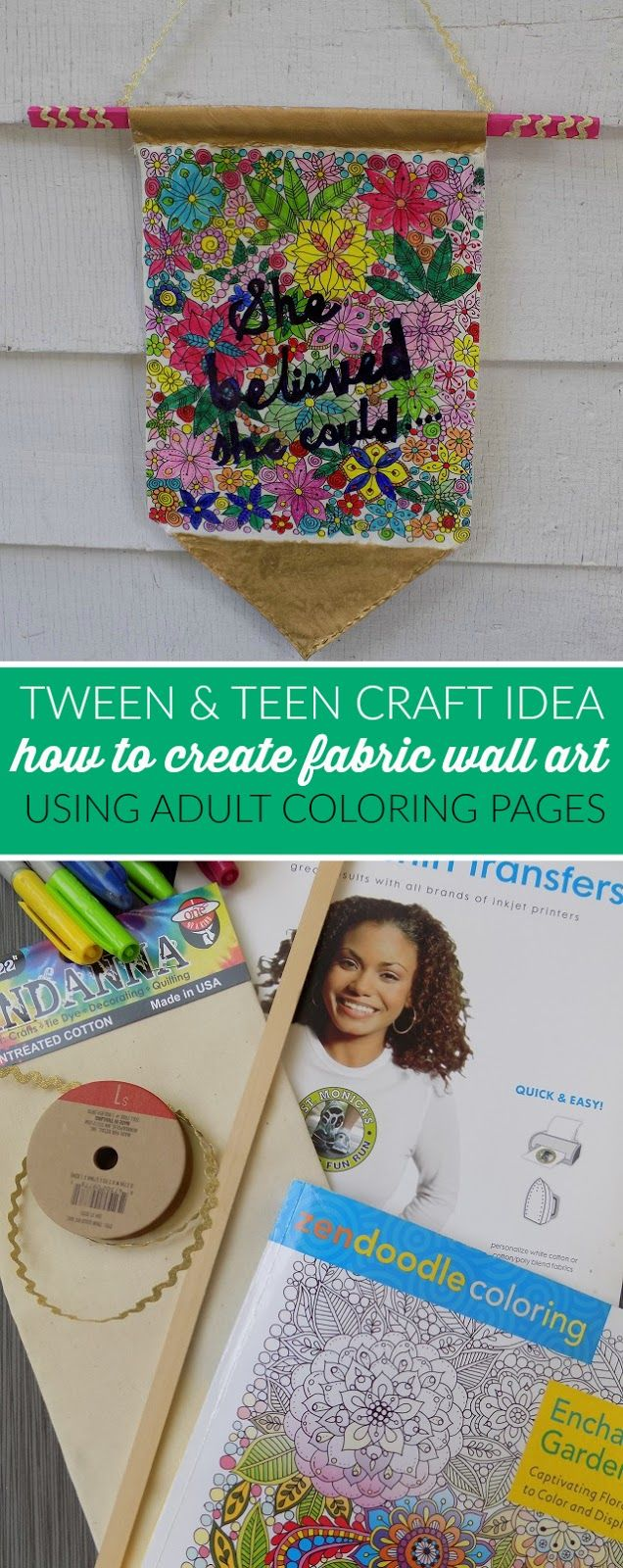 How To Create Fabric Wall Art Using Adult Coloring Book Pages and Free Printable Adult Coloring Pages - Fun Tween & Teen Summer DIY Craft Idea!