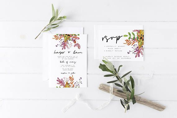 Autumnal Wedding Invitation Suite the Harper Suite Floral