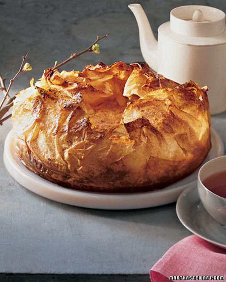 Layers of paper-thin buttery phyllo overlap to form a delicate base for a sweet potato souffle.