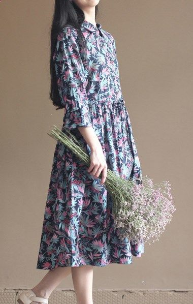 Navy bamboo leaves print cotton dresses long maxi dress pleated dresses