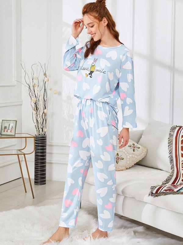 ca210a10e2 Rabbit   Heart Print Pajama Set -SheIn(Sheinside)