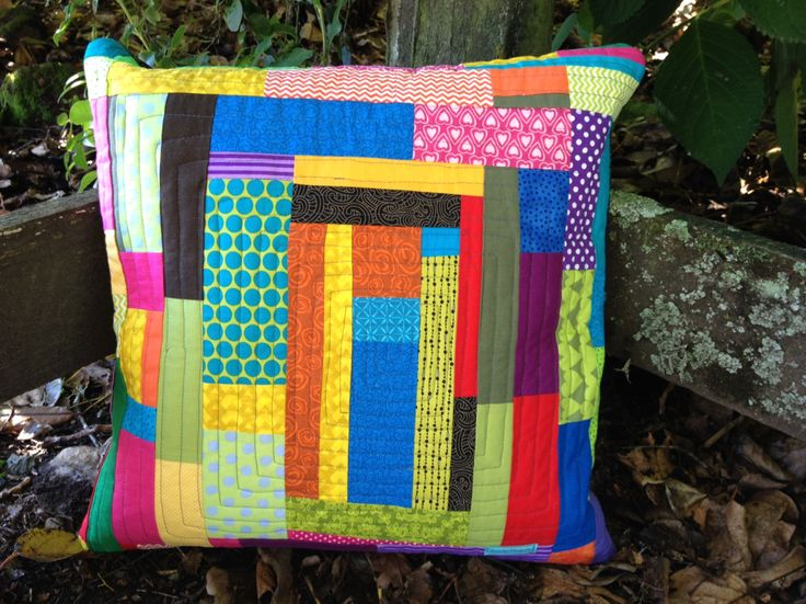 scrappy cushion improvisational piecing...