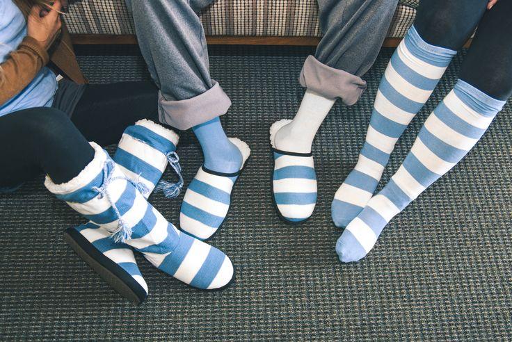 Blue and White Slippers + Socks #NFL #NBA #NCAA #UNC #tarheels #Carolina #UCLA #slipper #sock #Detroit #Lions #Panthers