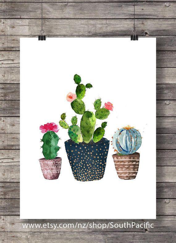Art de cactus impression Cactus aquarelle Cactus par SouthPacific